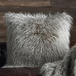 Faux Mongolian Sheepskin Decorative Pillow in Platinum