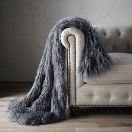 Faux Mongolian Sheepskin Throw