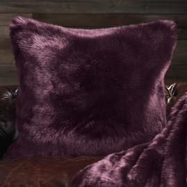 Runway Faux Fur Pillow in Mulberry