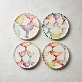Wine Hand Painted Assorted Appetizer Plates, Set of