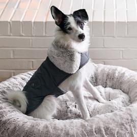 Quilted Pet Jacket with Faux Fur Trim