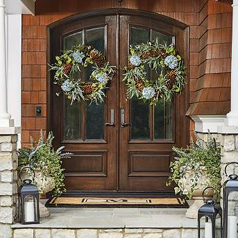 wreaths greenery outdoor decor