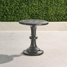 Carlisle Pedestal Side Table in Slate Finish