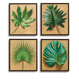 Palm Leaves Paintings, Set of Four