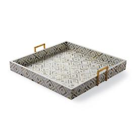Coco Penshell Square Pewter Tray