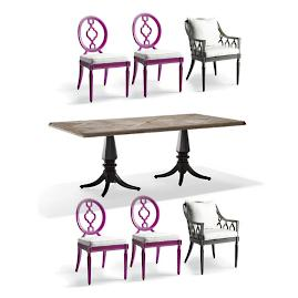 Avery 7-pc. Rectangular Dining Set in Fuchsia Finish