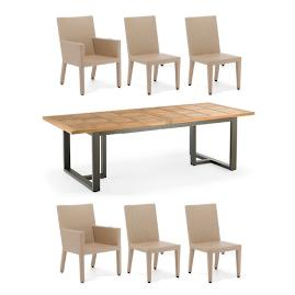 Pierce Extending Teak Dining Set in Linen Finish