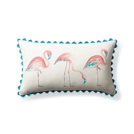 Roaming Flamingos Outdoor Lumbar Pillow
