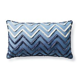 Chevron Fringe Air Blue Outdoor Lumbar Pillow