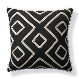 Geometric Columns Black Outdoor Pillow