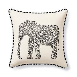Stamped Elephant Outdoor Pillow