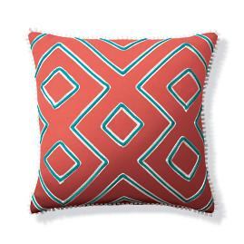 Geometric Columns Peony Outdoor Pillow