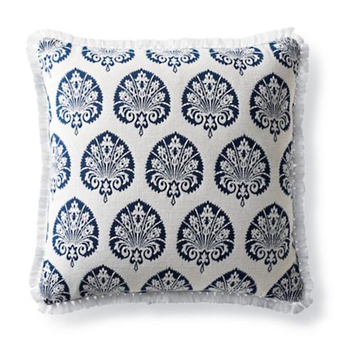 Lovely Denby Velvet Navy Outdoor Pillow