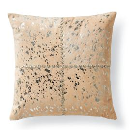 Silver Metallic Stitched Hide Decorative Pillow