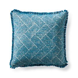 Etched Geo Peacock Outdoor Pillow
