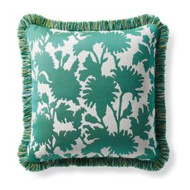Stencil Floral Jade Outdoor Pillow