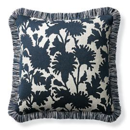 Stencil Floral Navy Outdoor Pillow
