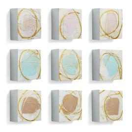 Mixed Abstract Flowers Wall Art, Set of Nine