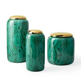 Malachite Canisters, Set of Three