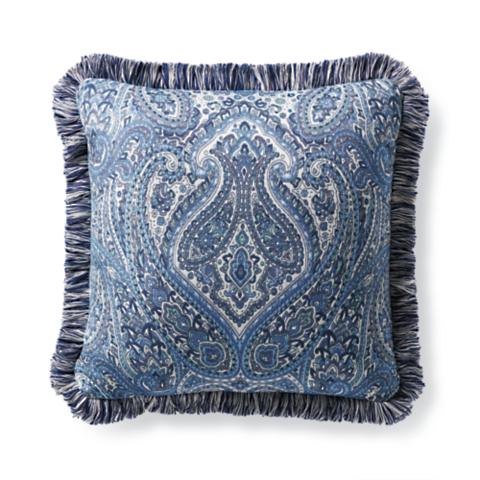 Delightful Calais Paisley Cobalt Outdoor Pillow