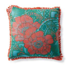 Floral Groove Poppy Outdoor Pillow