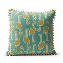 Flamingo Coast Citrus Pom Pom Outdoor Pillow