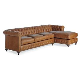 Petite Barrow Leather Sofa with Right-facing Chaise