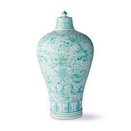 Aqua Ming Large Lidded Vase