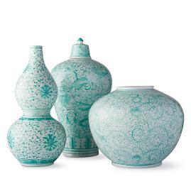 Aqua Ming Large Vases, Set of Three
