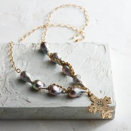 Baroque Grey Briolette Necklace with Old World Cross