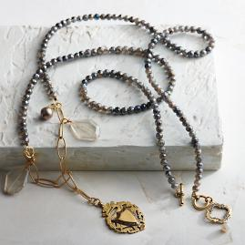 Labradorite Milagros Necklace with Pendant & Crystals by