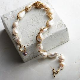 Wrapped Baroque Ivory Pearl Milagros Necklace by Bittersweet