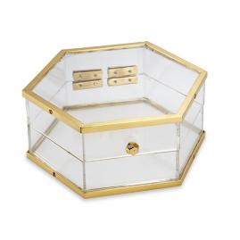 Axel Lucite and Brass Hex Box