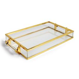 Axel Lucite and Brass Tray