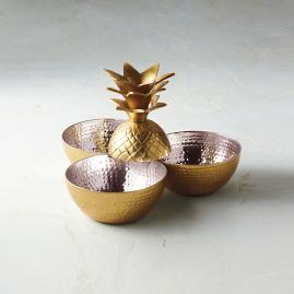 Golden Pineapple Section Bowl