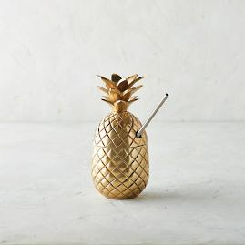 Golden Pineapple Tumblers, Set of Two