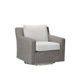 Rustic Wicker Swivel Lounge Chair with Cushions by