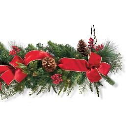 Christmas Cheer Cordless Garland with Bow