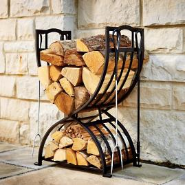 Fireside Log Rack with Tools