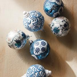 French Linen and Blue Ornament Collection