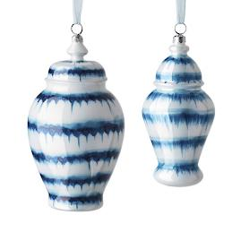 French Linen and Blue Drip Glass Ginger Jars,