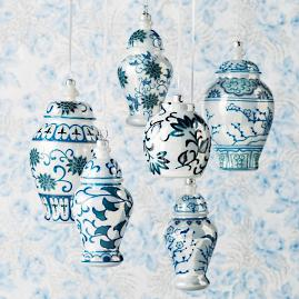 French Linen and Blue Traditional Ming Glass Ginger