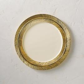 Lunares Gold Feather Dinner Plate
