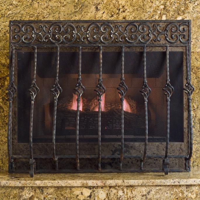 Tuscany Fireplace Screen With Mesh Frontgate