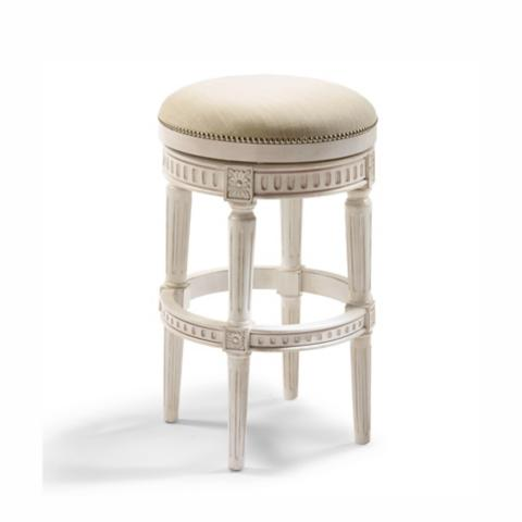 Manchester Swivel Bar Height Backless Bar Stool H seat in Vintage White Finish