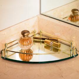 Belmont Corner Vanity Tray in Brass Finish