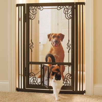 42 Quot H Tension Mount Dual Door Steel Mesh Pet Gate Frontgate