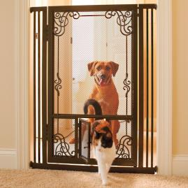"42""H Tension-mount Dual Door Mesh Pet Gate"