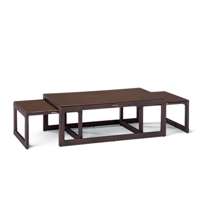 palermo set of three nesting glass overlay coffee tables