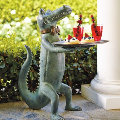 Belvedere alligator table frontgate for Alligator yard decoration